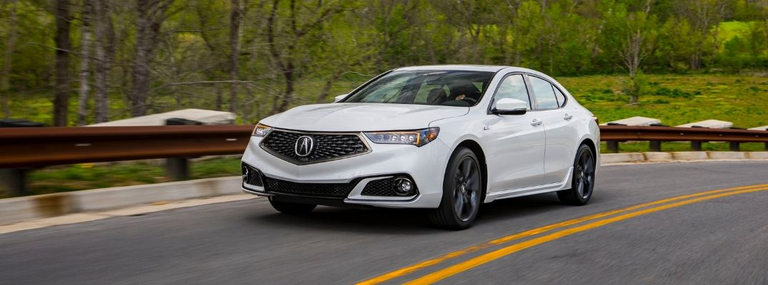 Exterior view of a white 2020 Acura TLX