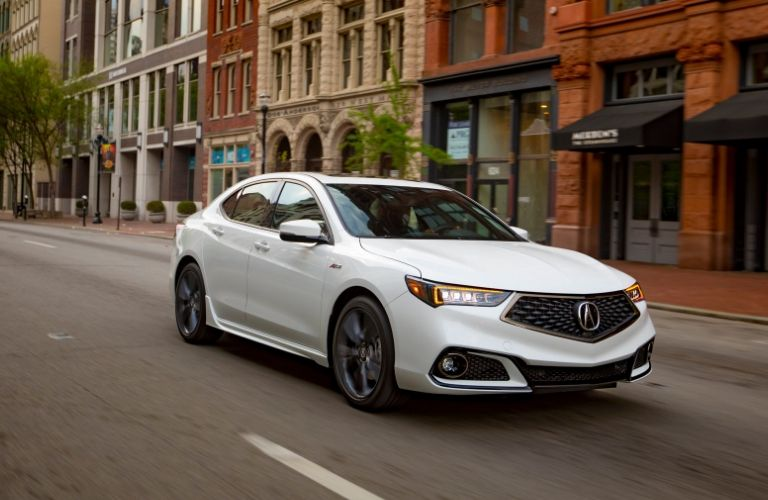 Exterior view of the front of a white 2020 Acura TLX