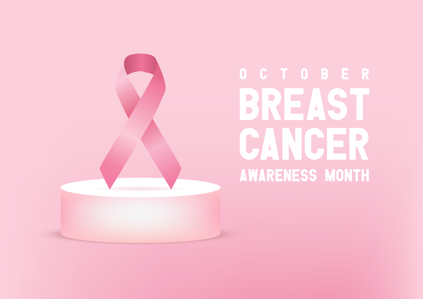 A pink Breast Cancer Awareness Month graphic with a pink Bow and pink background