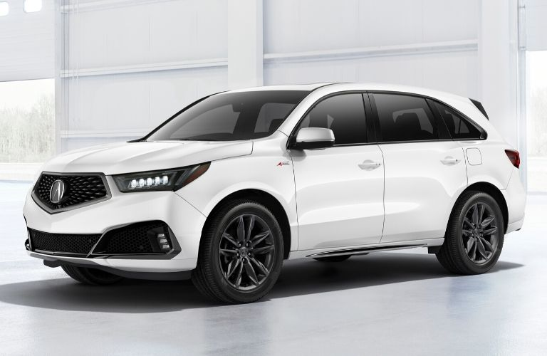Exterior view of a white 2020 Acura MDX