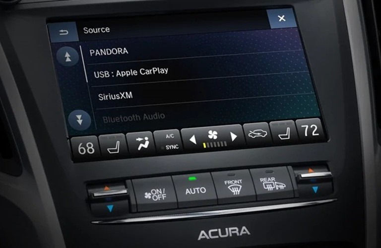 Close up view of the touchscreen display inside a 2020 Acura TLX
