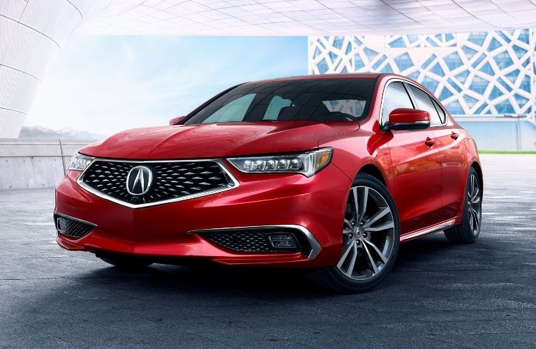 Exterior view of the front of a red 2020 Acura TLX