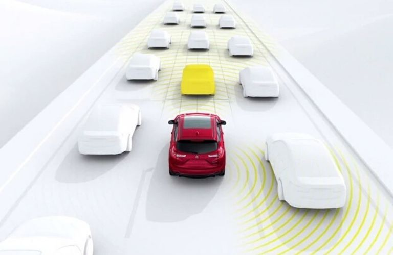 Visual representation of the AcuraWatch™ Adaptive Cruise Control with Low-Speed Follow feature