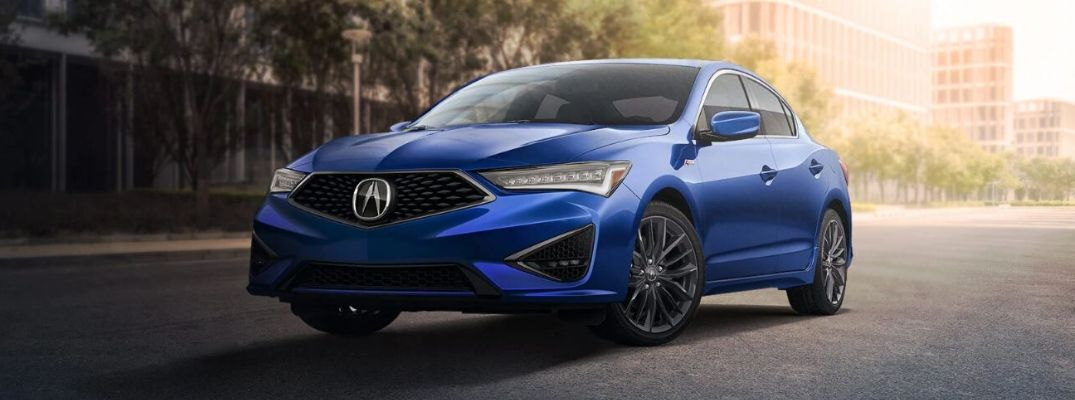 Exterior view of an Apex Blue Pearl 2020 Acura ILX model