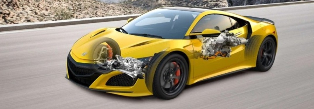 Exterior view of a transparent yellow 2020 Acura NSX showing the vehicle's engine system