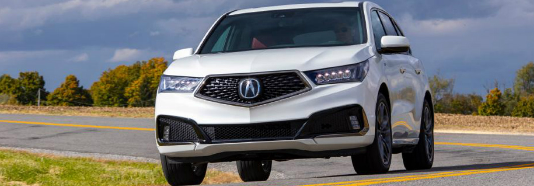 Front view of white 2020 Acura MDX