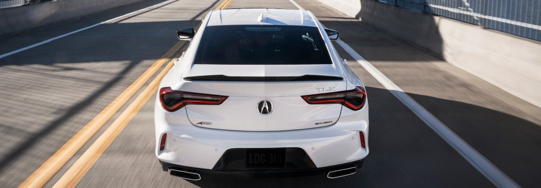 Rear view of white 2021 Acura TLX
