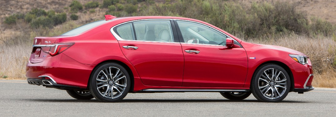 Side view of red 2020 Acura RLX