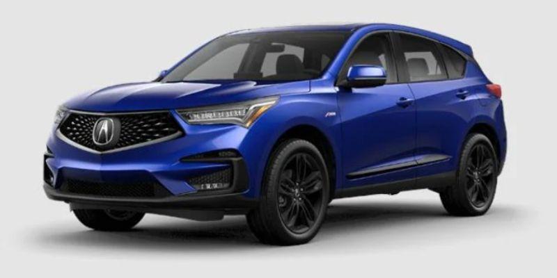 Apex Blue Pearl 2021 Acura RDX on White Background