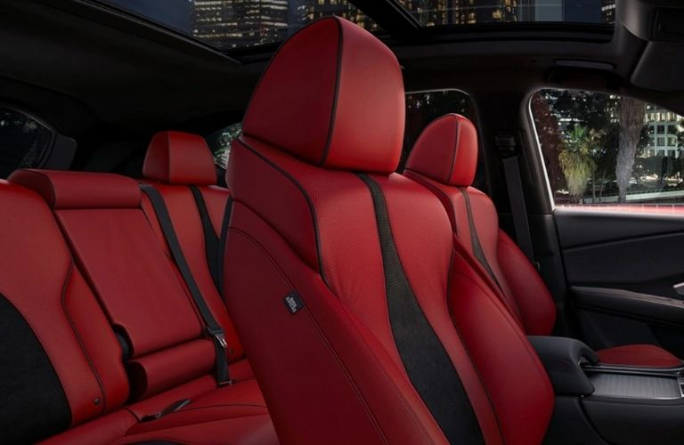 Red and Black 2021 Acura RDX Front and Rear Interior