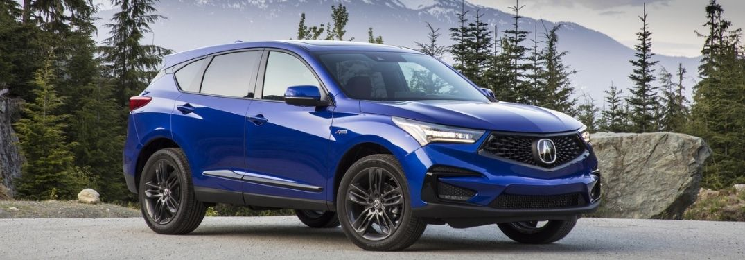 Blue 2021 Acura RDX in the Mountains