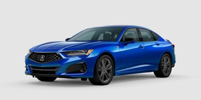 Apex Blue Pearl 2021 Acura TLX on White Background