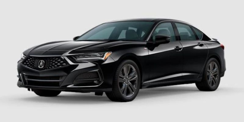 Midnight Black Pearl 2021 Acura TLX on White Background