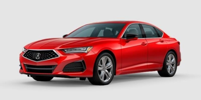 Performance Red Pearl 2021 Acura TLX on White Background