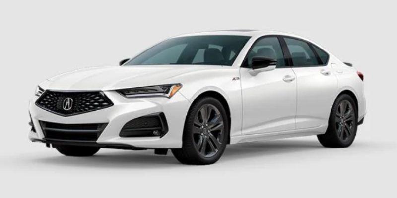 Platinum White Pearl 2021 Acura TLX on White Background