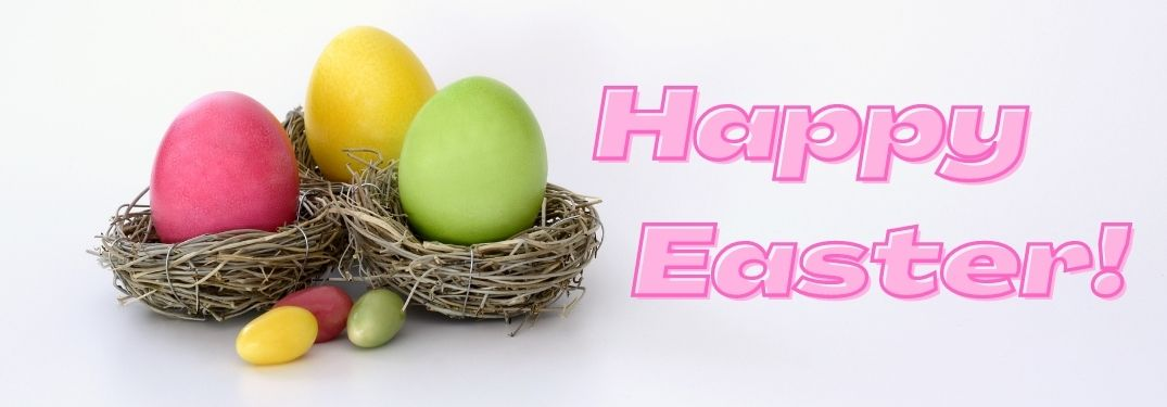 Colorful Easter Eggs in Nests on a White Background with Pink Happy Easter Text