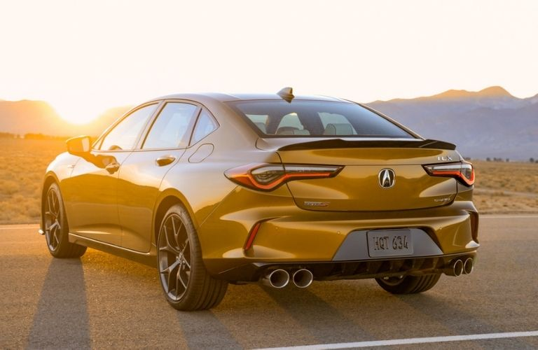 Gold 2021 Acura TLX Type S Rear Exterior at Sunset