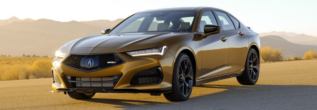 Gold 2021 Acura TLX Type S on a Desert Road