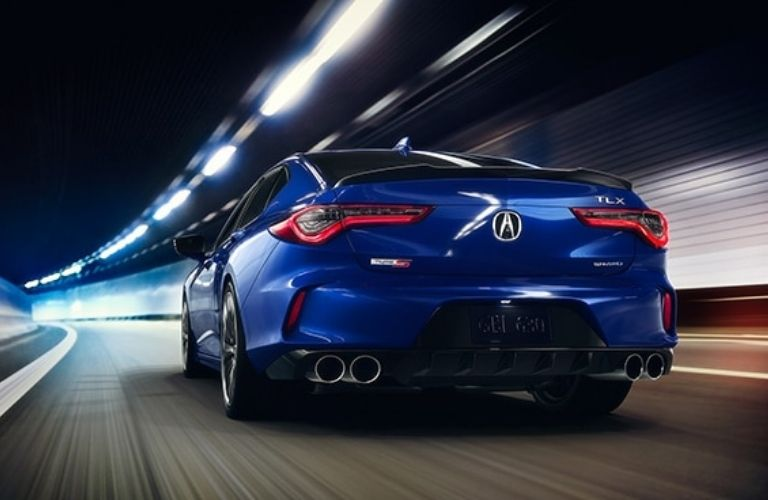 Blue 2021 Acura TLX Type S Rear Exterior in a Tunnel