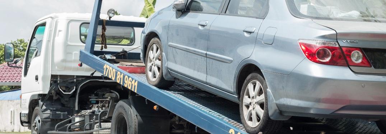 Vehicle on flatbed