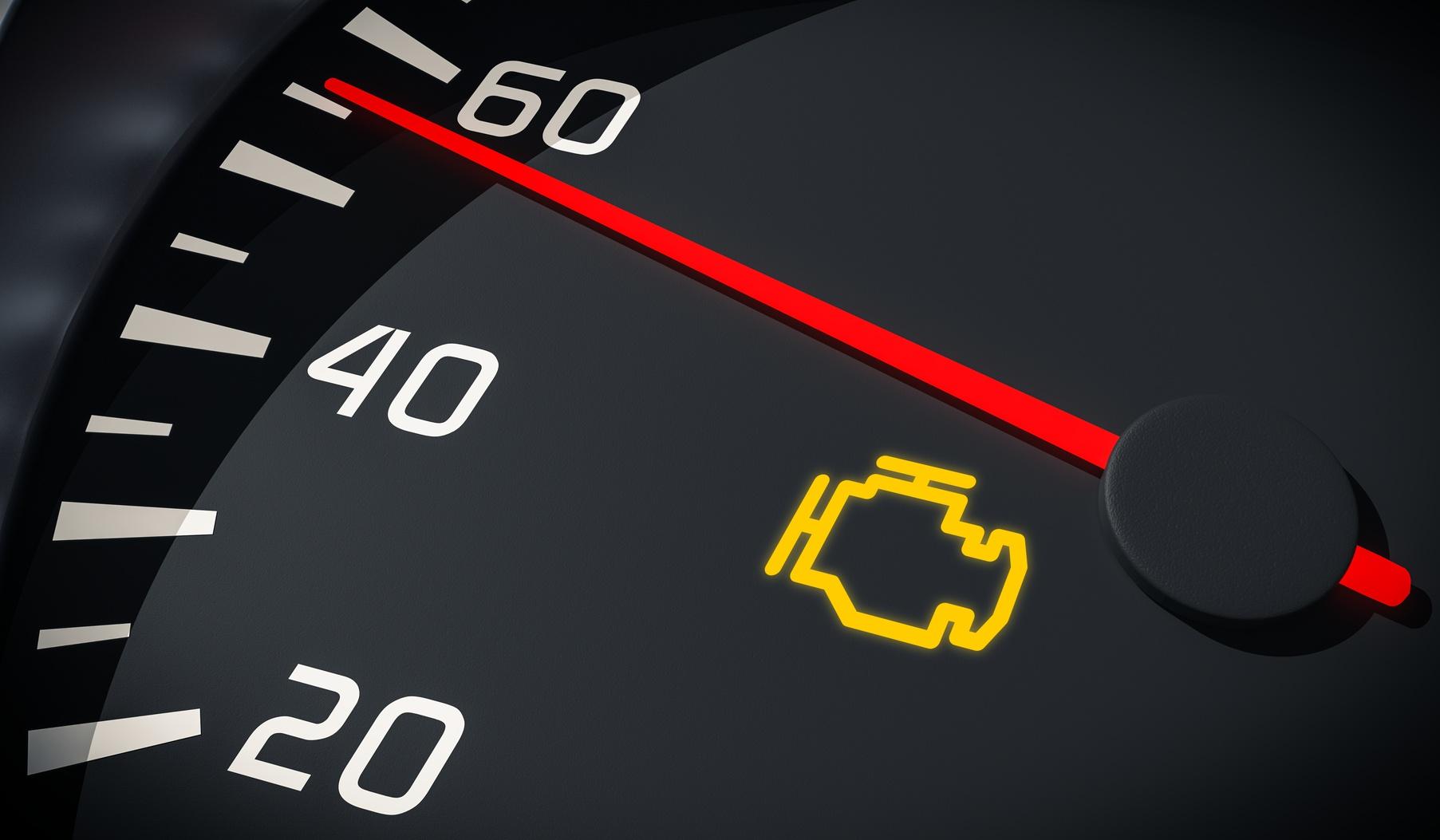 Engine Malfunction Warning Light Control In Car Dashboard 3d