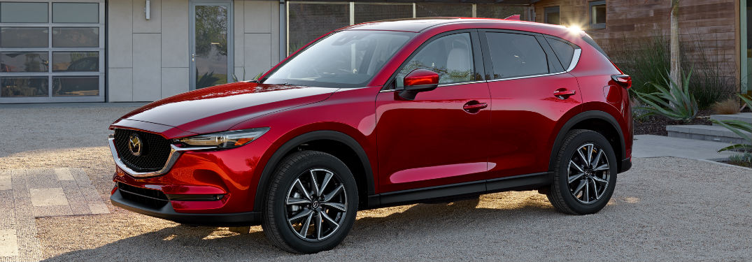 side view of a red 2018 Mazda CX-5
