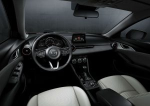 high angle view of the front interior of a 2019 Mazda CX-3