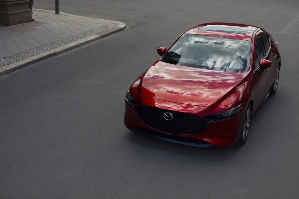 front view of a red 2019 Mazda3