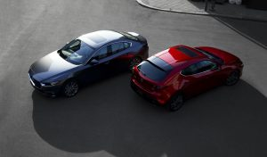high angle view of two 2019 Mazda3 models