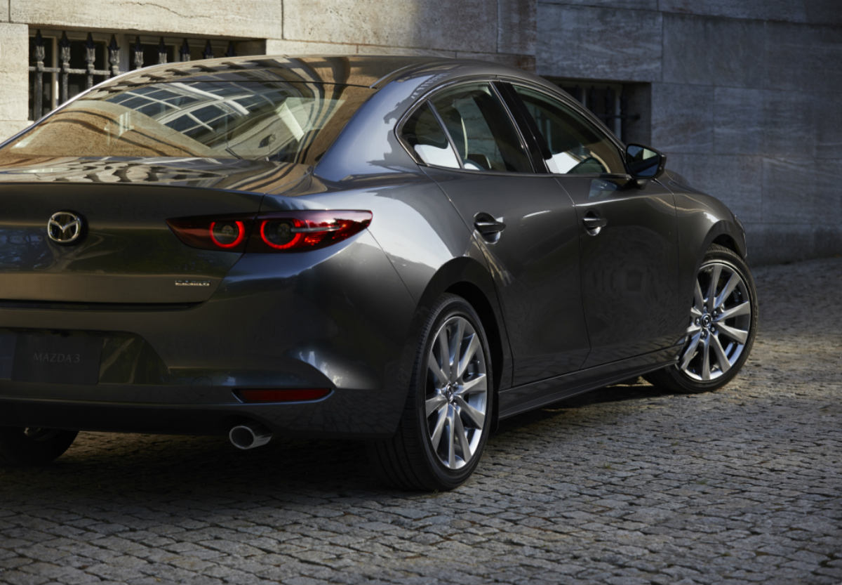 rear view of a silver 2019 Mazda3