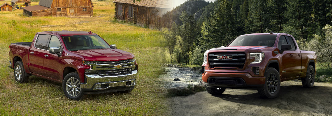 2019 Chevy Silverado and 2019 GMC Sierra both in red