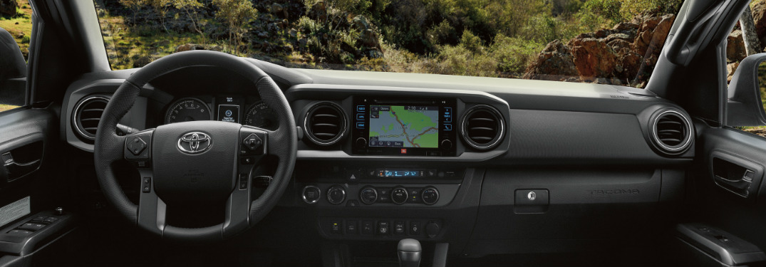 2019 Toyota Tacoma interior steering wheel and dashboard