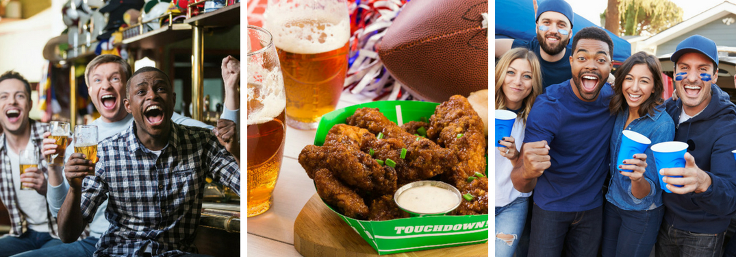 Fans Cheering in a Sports Bar, Close Up of Beer and Wings on a Table at a Sports Bar and Fans at a Tailgate Party