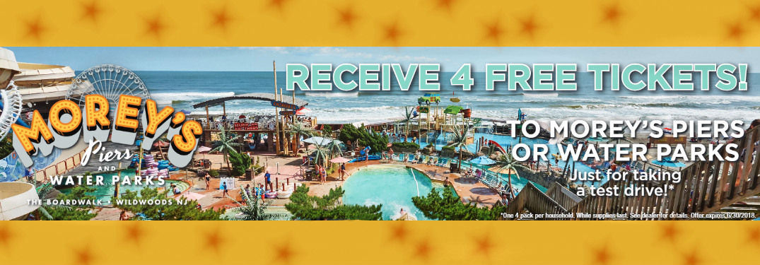 """overhead view and logo of Morey's Piers and Water Parks with text that says """"Receive 4 free tickets to Morey's Piers or Water Parks just for taking a test drive! One 4 pack per household. While supplies last. See dealer for details. Off expires 6/30/2018."""""""