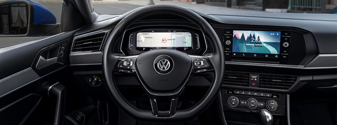 2019 VW Jetta Driver-Seat View of Steering Wheel, Instrument Cluster, and More