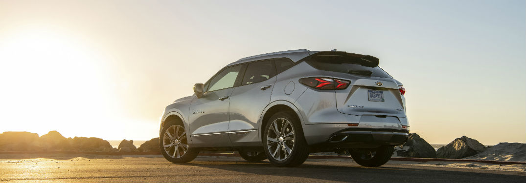 2019 Chevy Blazer exterior back fascia and driver side on beach with sunrise