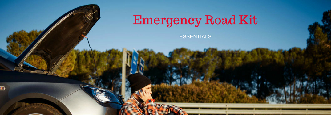 Emergency Road Kit Essentials, text on an image of a man calling for help in front of his broken down car