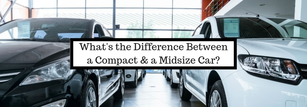 What;s the Difference Between a Compact and a Midsize Car?, text on an image of a front exterior view of a black sedan on the left parked next the front exterior view of a white sedan on the right