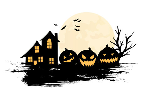 A drawing of a haunted house, a row of pumpkins and bats.