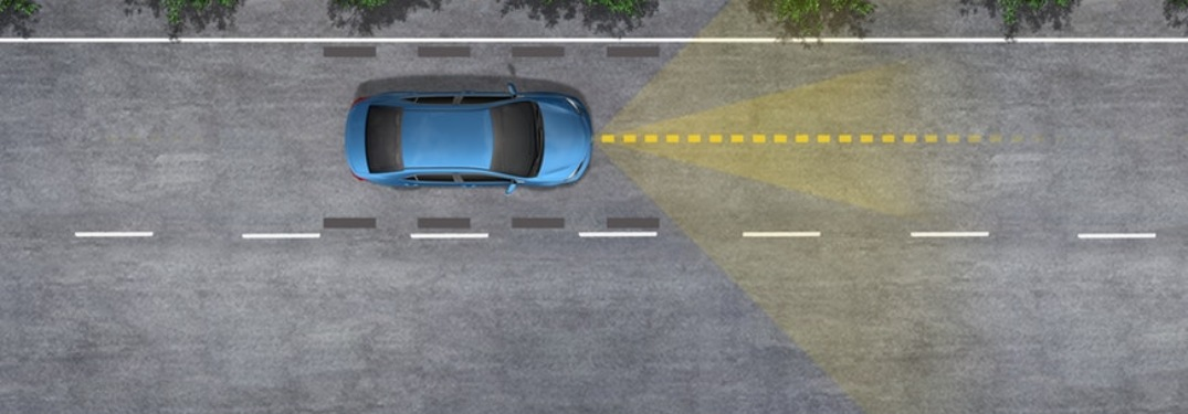 An illustration of how the 2019 Toyota RAV4's lane-keeping assistance works