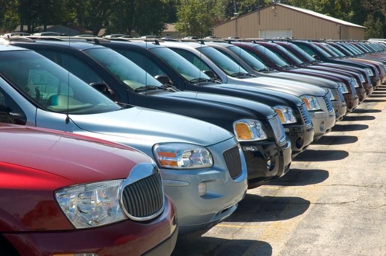 A row of SUVs lined up