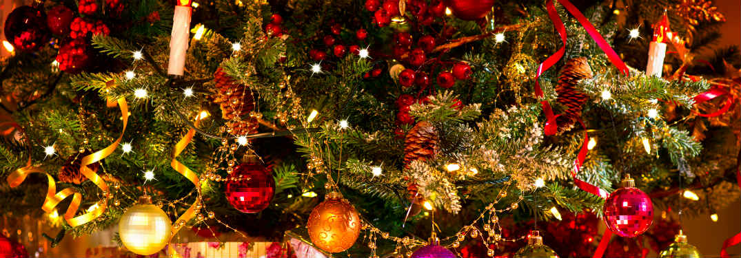 Close-up on a decorated Christmas tree