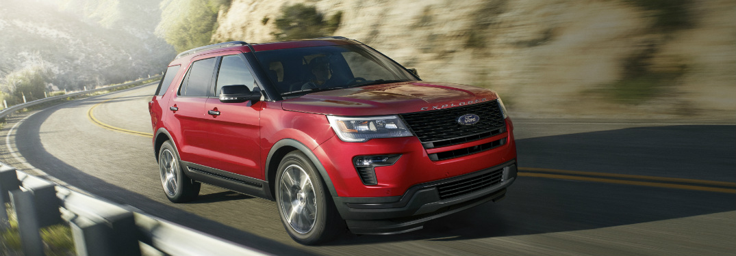 front and side view of red 2019 ford explorer