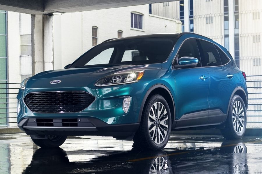 2020 Ford Escape Titanium in parking garage from exterior front drivers side_o