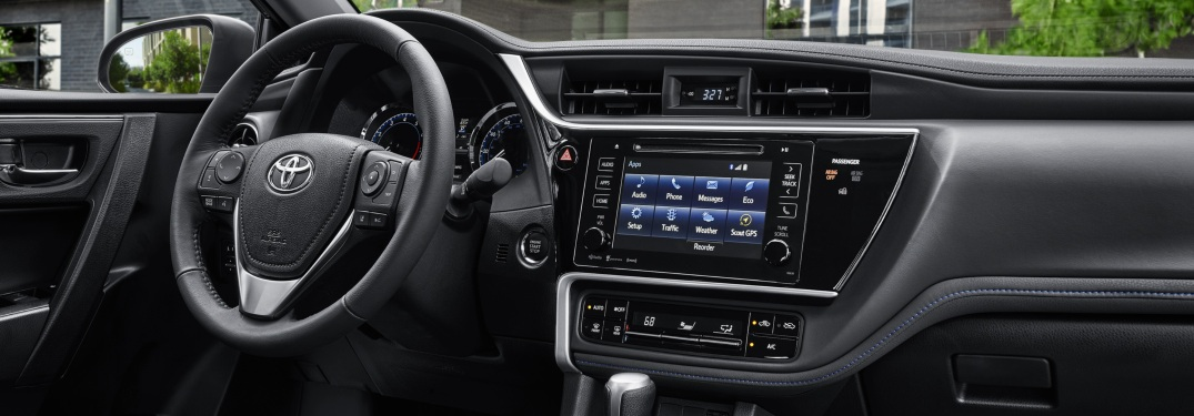 Steering wheel and infotainment system of the 2019 Toyota Corolla
