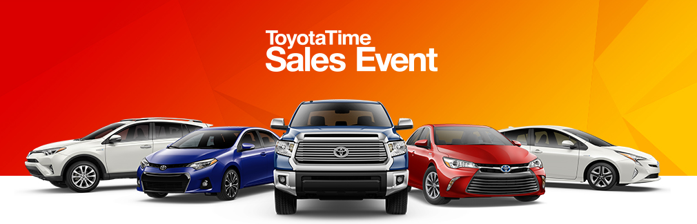 What vehicles are available in the Toyota time sales event?
