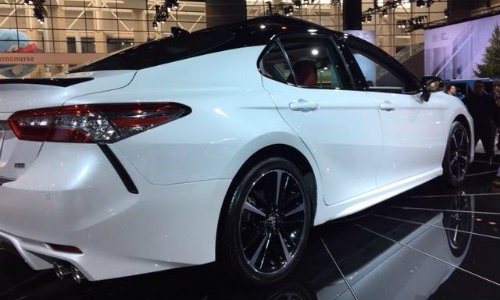 Full body view of 2018 Toyota Camry XSE at Chicago Auto Show