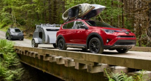 2018 Toyota RAV4 Adventure Trim towing trailer over bridge