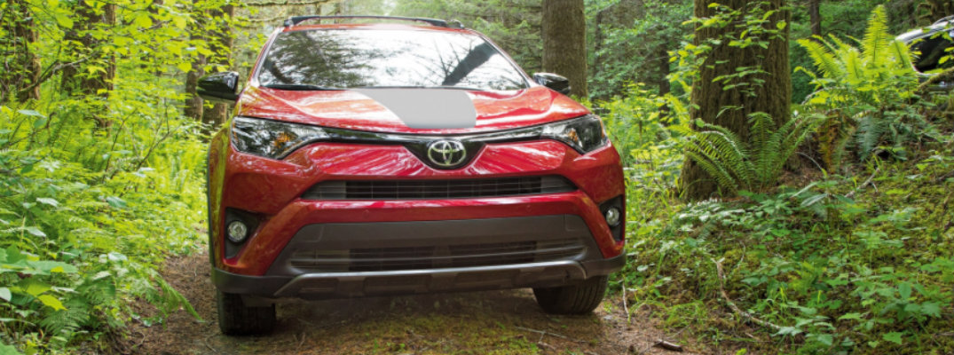 Front grille of 2018 Toyota RAV4 Adventure driving through woods