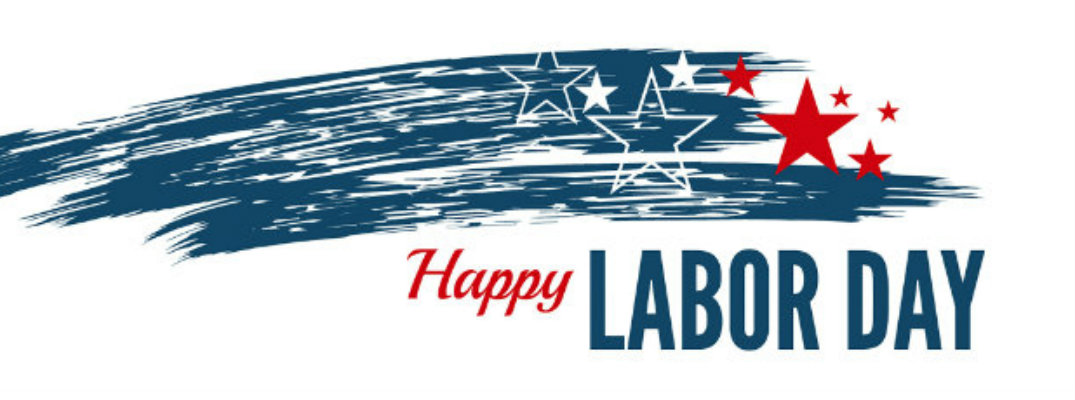 "Streaking star illustration with ""Happy Labor Day"" written underneath"